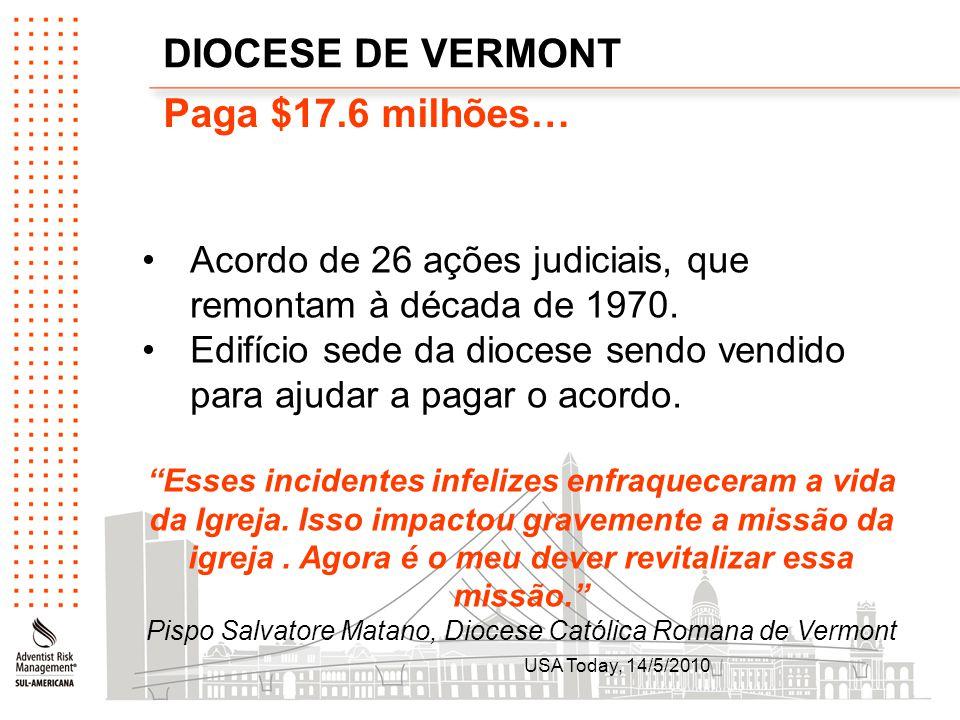DIOCESE DE VERMONT Paga $17.6 milhões… Acordo de 26 ações judiciais, que remontam à década de 1970. Edifício sede da diocese sendo vendido para ajudar