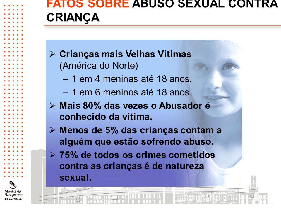 FATOS SOBRE ABUSO SEXUAL CONTRA CRIANÇA  Crianças mais Velhas Vítimas (América do Norte) –1 em 4 meninas até 18 anos. –1 em 6 meninos até 18 anos. 