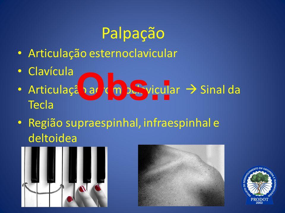 Palpação Articulação esternoclavicular Clavícula Articulação acromioclavicular  Sinal da Tecla Região supraespinhal, infraespinhal e deltoidea Obs.: