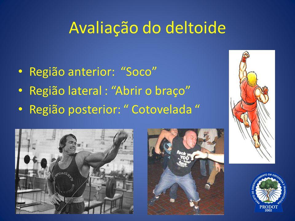 """Avaliação do deltoide Região anterior: """"Soco"""" Região lateral : """"Abrir o braço"""" Região posterior: """" Cotovelada """""""
