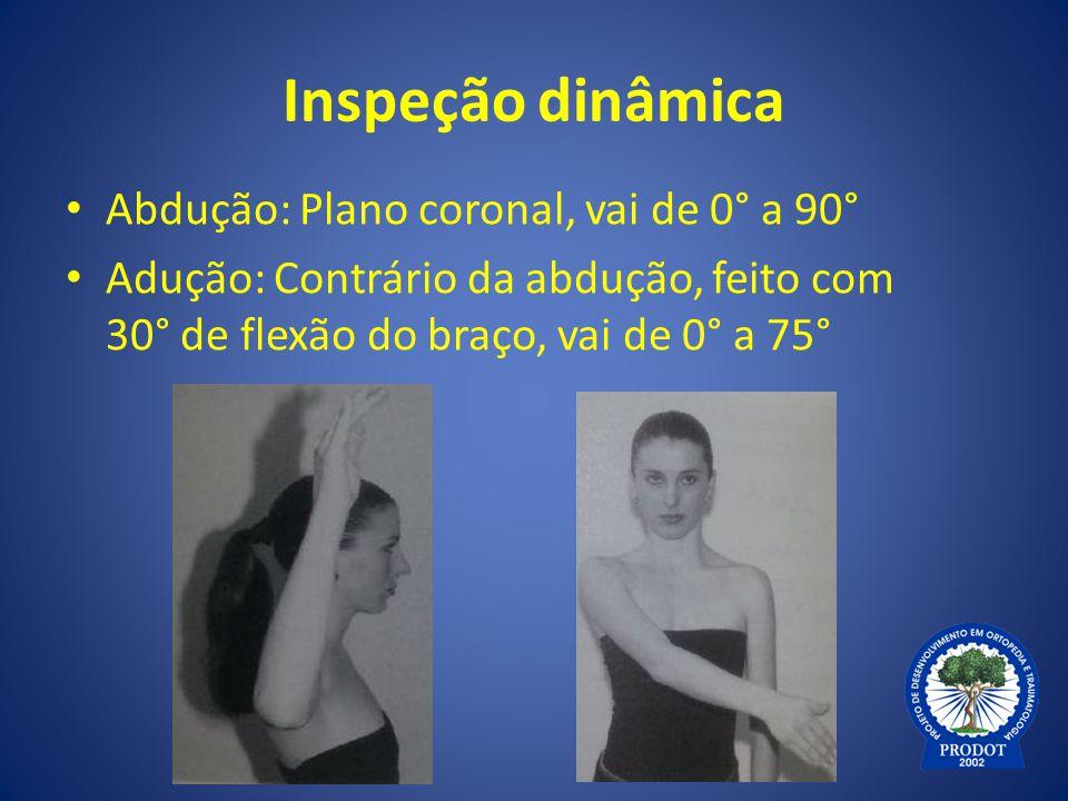 Inspeção dinâmica Abdução: Plano coronal, vai de 0° a 90° Adução: Contrário da abdução, feito com 30° de flexão do braço, vai de 0° a 75°