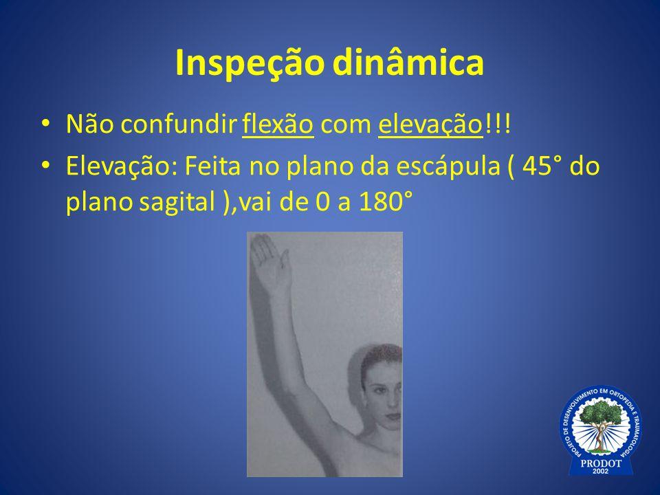 Inspeção dinâmica Não confundir flexão com elevação!!! Elevação: Feita no plano da escápula ( 45° do plano sagital ),vai de 0 a 180°