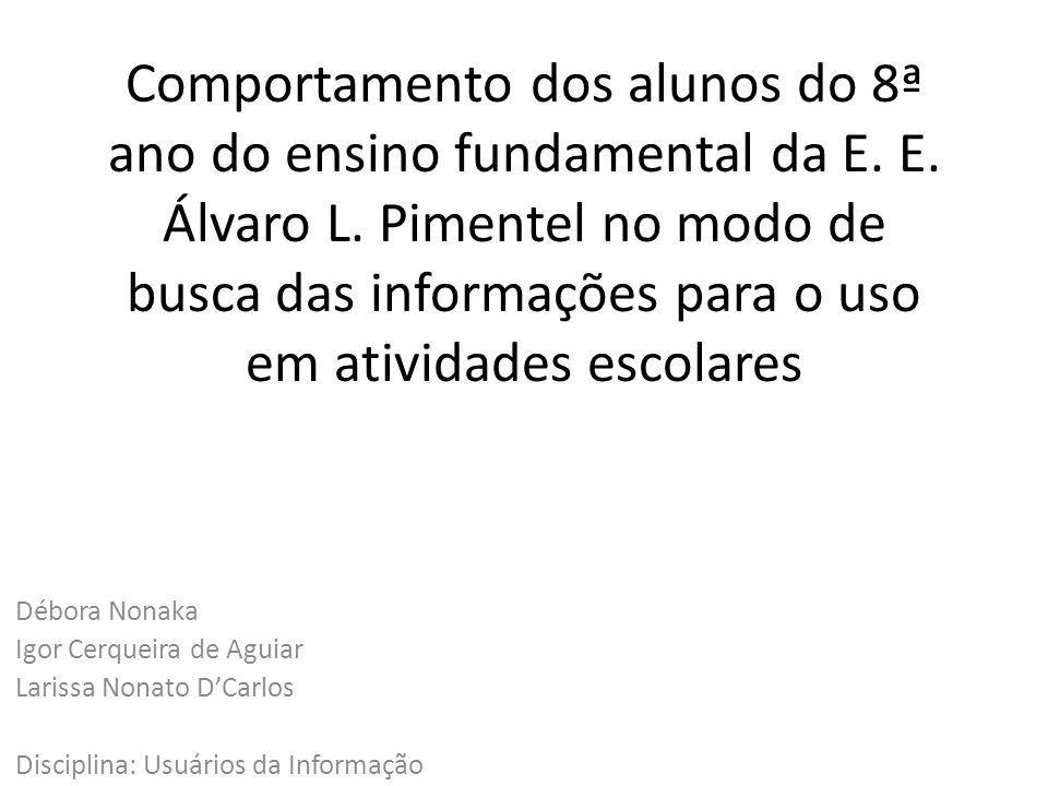 Comportamento dos alunos do 8ª ano do ensino fundamental da E. E. Álvaro L. Pimentel no modo de busca das informações para o uso em atividades escolar