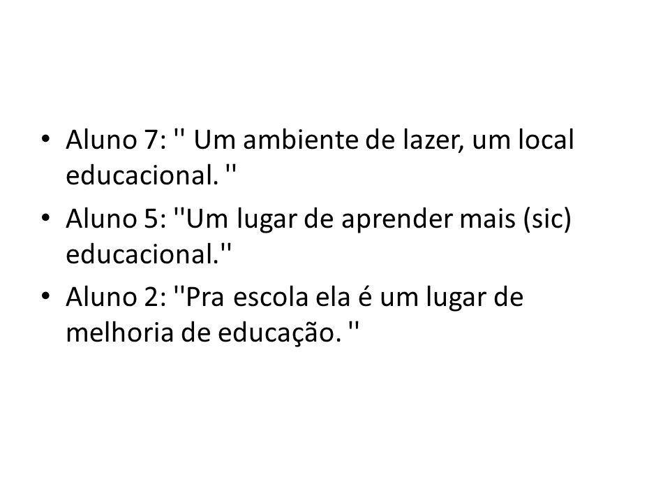 Aluno 7: '' Um ambiente de lazer, um local educacional. '' Aluno 5: ''Um lugar de aprender mais (sic) educacional.'' Aluno 2: ''Pra escola ela é um lu