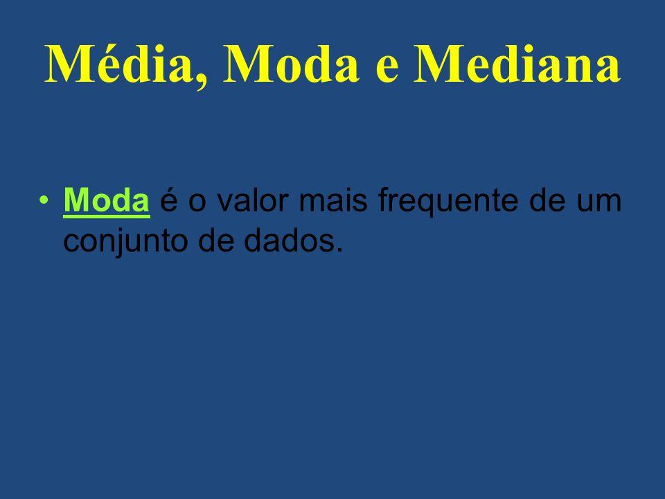 Moda é o valor mais frequente de um conjunto de dados. Média, Moda e Mediana