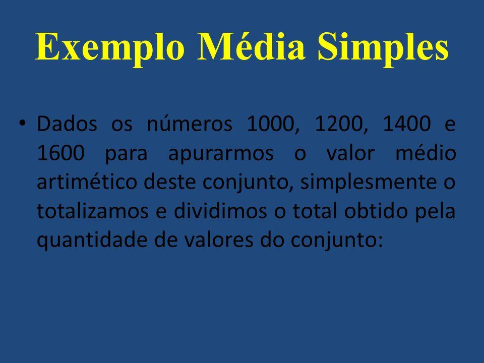 Dados os números 1000, 1200, 1400 e 1600 para apurarmos o valor médio artimético deste conjunto, simplesmente o totalizamos e dividimos o total obtido