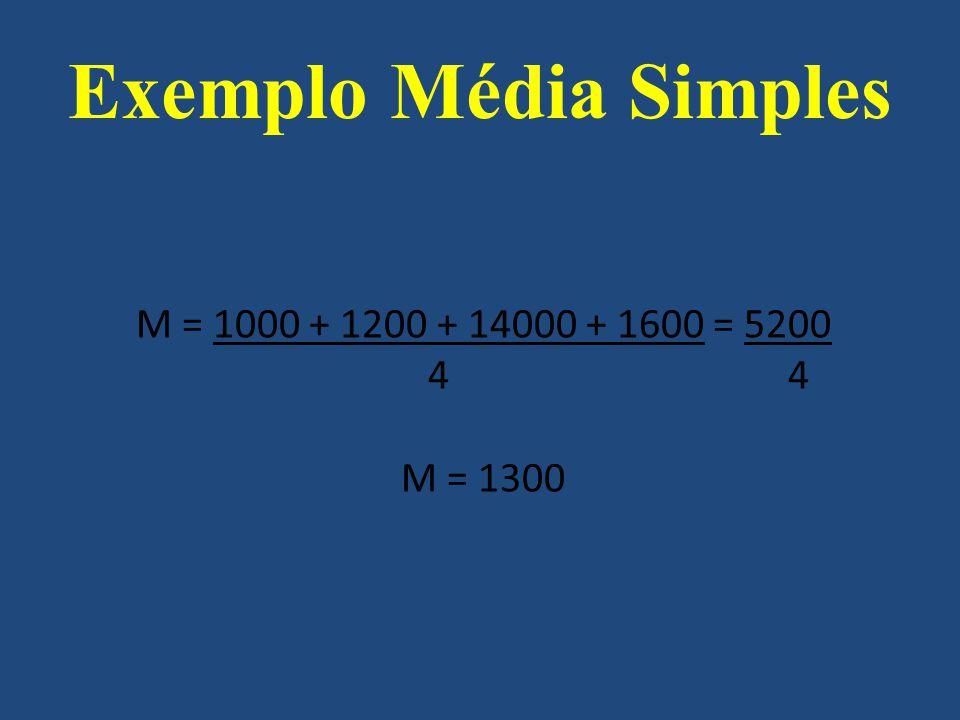 M = 1000 + 1200 + 14000 + 1600 = 5200 4 4 M = 1300