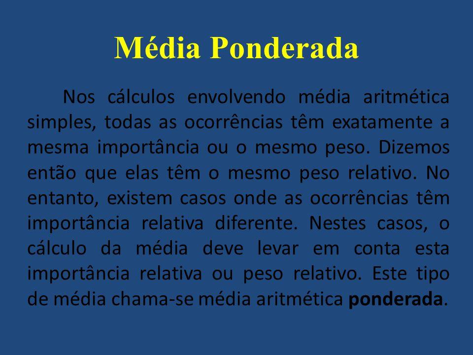 Média Ponderada Ponderar é sinônimo de pesar.