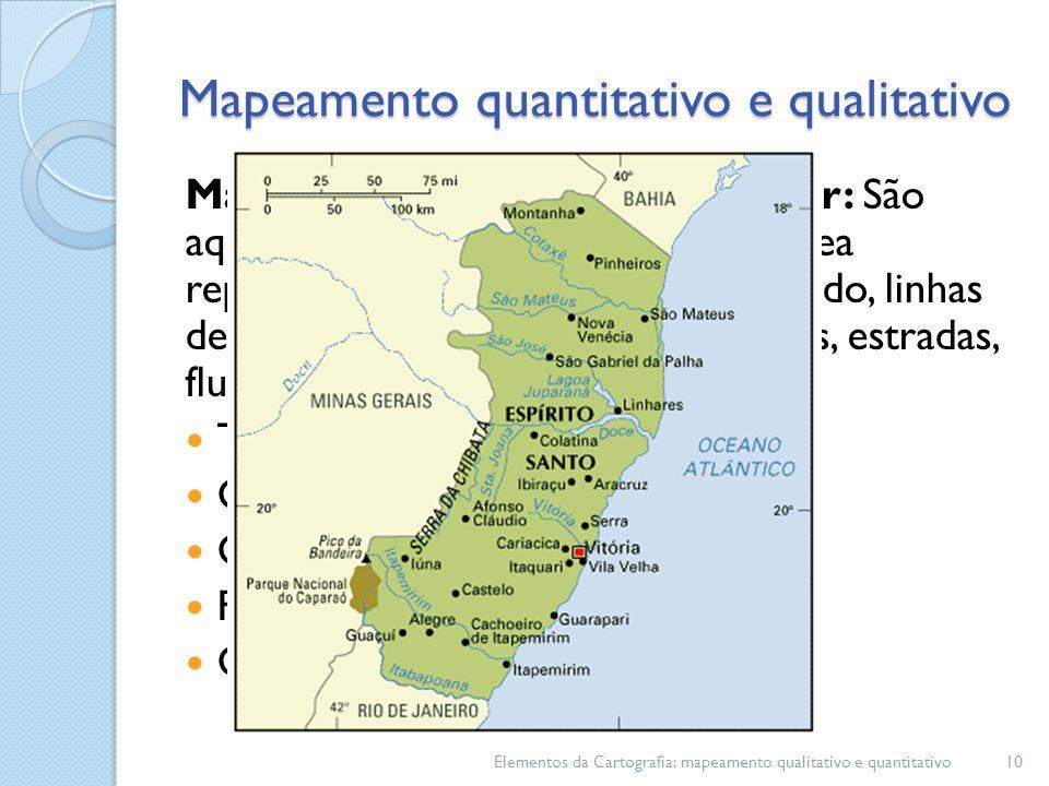Mapeamento quantitativo linear: São aqueles associados a definição da área representada, a definição do reticulado, linhas de costa, limites administrativos, rios, estradas, fluxo dentre.