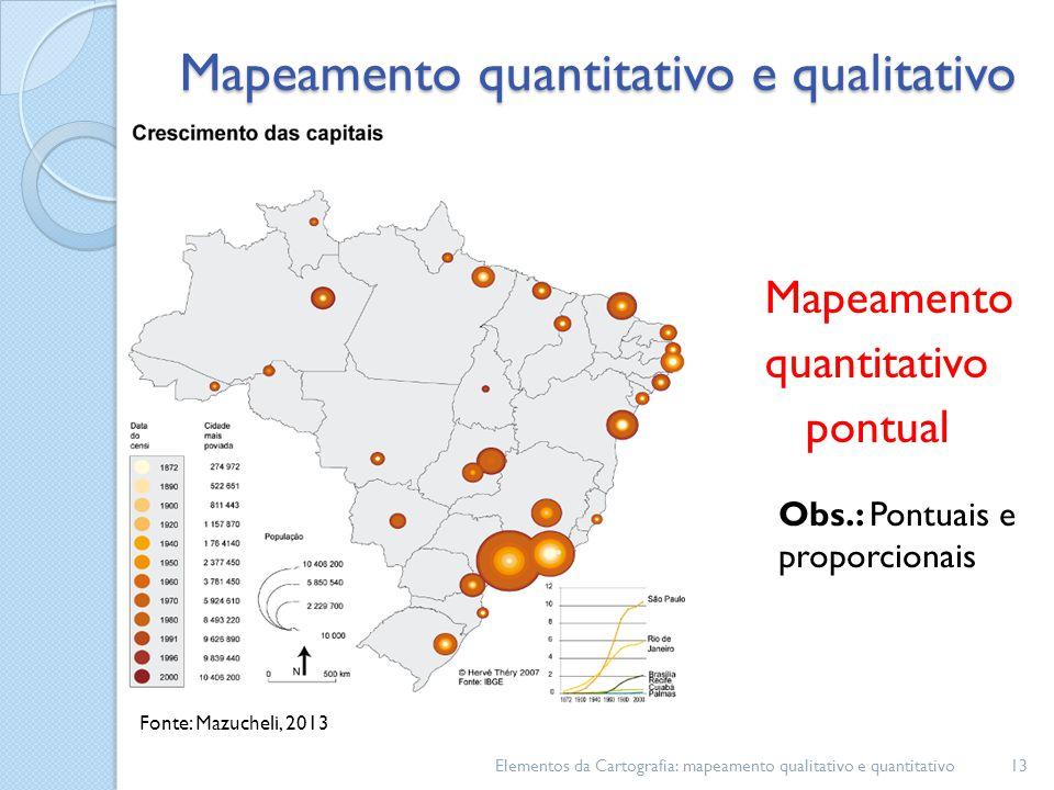 Mapeamento quantitativo pontual Elementos da Cartografia: mapeamento qualitativo e quantitativo13 Mapeamento quantitativo e qualitativo Fonte: Mazucheli, 2013 Obs.: Pontuais e proporcionais