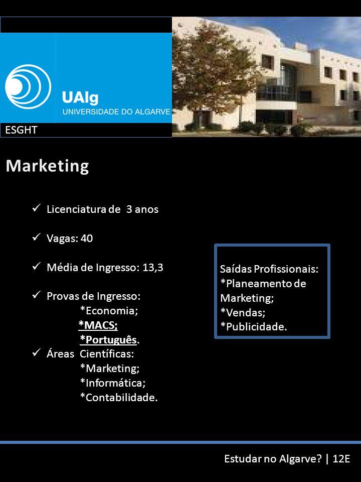 Estudar no Algarve? | 12E Licenciatura de 3 anos Vagas: 40 Média de Ingresso: 13,3 Provas de Ingresso: *Economia; *MACS; *Português. Áreas Científicas