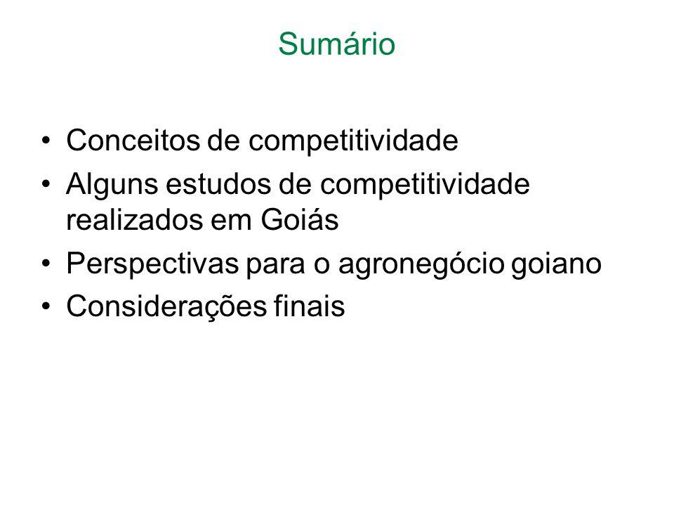 Sumário Conceitos de competitividade Alguns estudos de competitividade realizados em Goiás Perspectivas para o agronegócio goiano Considerações finais