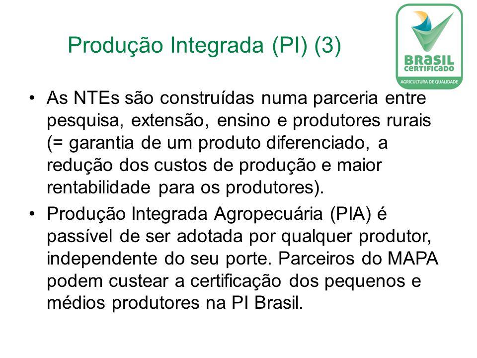 Produção Integrada (PI) (3) As NTEs são construídas numa parceria entre pesquisa, extensão, ensino e produtores rurais (= garantia de um produto diferenciado, a redução dos custos de produção e maior rentabilidade para os produtores).