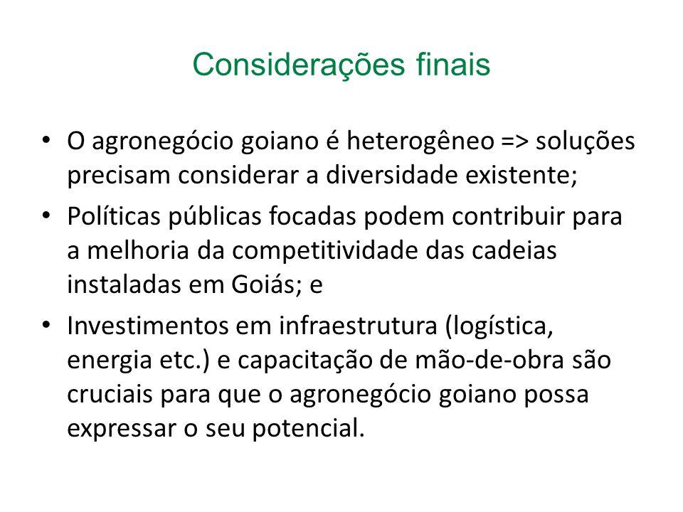 O agronegócio goiano é heterogêneo => soluções precisam considerar a diversidade existente; Políticas públicas focadas podem contribuir para a melhoria da competitividade das cadeias instaladas em Goiás; e Investimentos em infraestrutura (logística, energia etc.) e capacitação de mão-de-obra são cruciais para que o agronegócio goiano possa expressar o seu potencial.