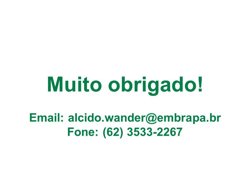 Muito obrigado! Email: alcido.wander@embrapa.br Fone: (62) 3533-2267