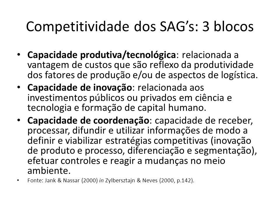 Competitividade dos SAG's: 3 blocos Capacidade produtiva/tecnológica: relacionada a vantagem de custos que são reflexo da produtividade dos fatores de produção e/ou de aspectos de logística.