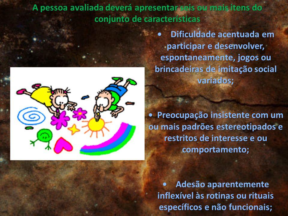 Dificuldade acentuada em participar e desenvolver, espontaneamente, jogos ou brincadeiras de imitação social variados; Dificuldade acentuada em partic