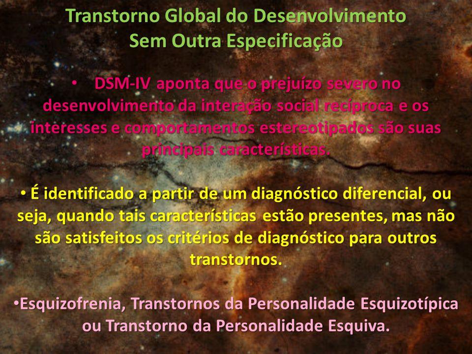 Transtorno Global do Desenvolvimento Sem Outra Especificação DSM-IV aponta que o prejuízo severo no desenvolvimento da interação social recíproca e os