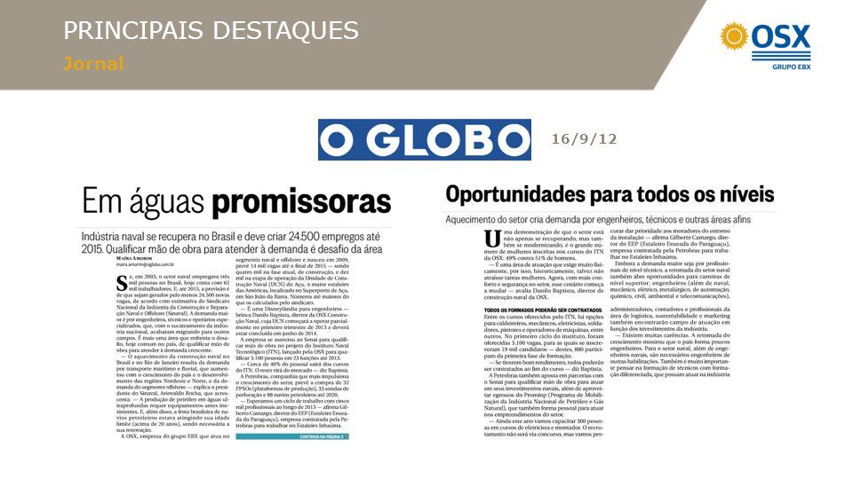 PRINCIPAIS DESTAQUES Jornal 16/9/12