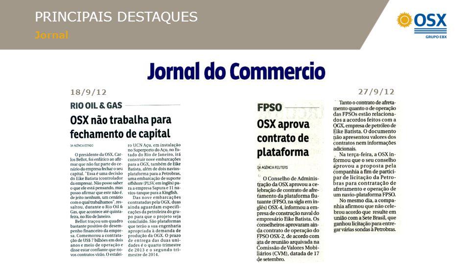 PRINCIPAIS DESTAQUES Jornal 18/9/12 27/9/12
