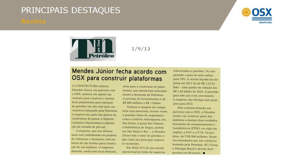PRINCIPAIS DESTAQUES Revista 1/9/12