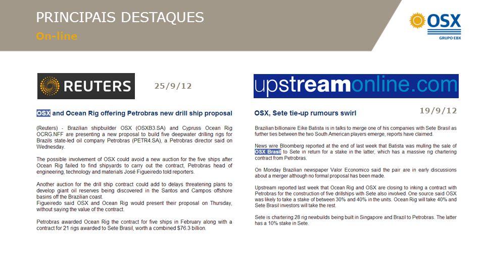 PRINCIPAIS DESTAQUES On-line 25/9/12 19/9/12