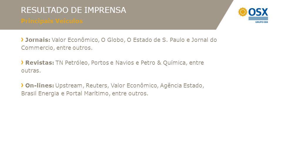 RESULTADO DE IMPRENSA Principais Veículos Jornais: Valor Econômico, O Globo, O Estado de S. Paulo e Jornal do Commercio, entre outros. Revistas: TN Pe