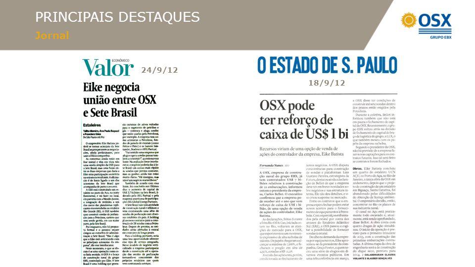 PRINCIPAIS DESTAQUES Jornal 13/9/12 4/9/12