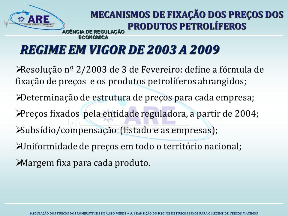 R EGULAÇÃO DOS P REÇOS DOS C OMBUSTÍVEIS EM C ABO V ERDE – A T RANSIÇÃO DO R EGIME DE P REÇOS F IXOS PARA O R EGIME DE P REÇOS M ÁXIMOS AGÊNCIA DE REGULAÇÃO ECONÓMICA REGIME EM VIGOR DE 2003 A 2009 MECANISMOS DE FIXAÇÃO DOS PREÇOS DOS PRODUTOS PETROLÍFEROS  Resolução nº 2/2003 de 3 de Fevereiro: define a fórmula de fixação de preços e os produtos petrolíferos abrangidos;  Determinação de estrutura de preços para cada empresa;  Preços fixados pela entidade reguladora, a partir de 2004;  Subsídio/compensação (Estado e as empresas);  Uniformidade de preços em todo o território nacional;  Margem fixa para cada produto.