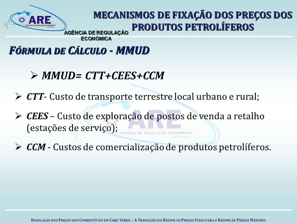 F ÓRMULA DE C ÁLCULO - MMUD  MMUD= CTT+CEES+CCM  CTT- Custo de transporte terrestre local urbano e rural;  CEES – Custo de exploração de postos de venda a retalho (estações de serviço);  CCM - Custos de comercialização de produtos petrolíferos.