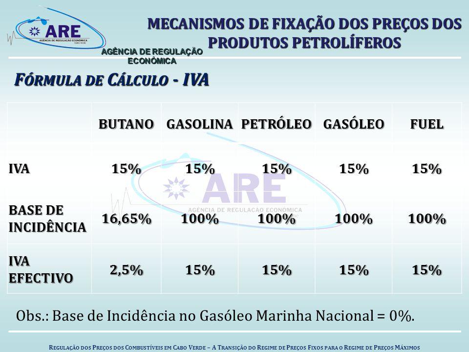 F ÓRMULA DE C ÁLCULO - IVA BUTANOGASOLINAPETRÓLEOGASÓLEOFUELIVA15%15%15%15%15% BASE DE INCIDÊNCIA 16,65%100%100%100%100% IVA EFECTIVO 2,5%15%15%15%15% Obs.: Base de Incidência no Gasóleo Marinha Nacional = 0%.