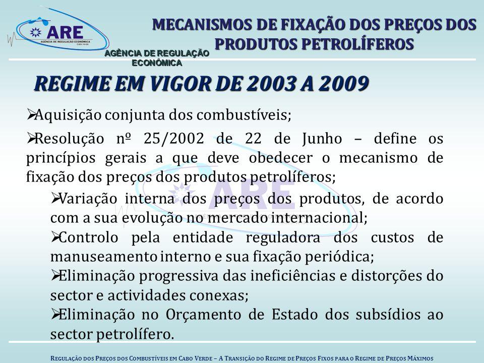 R EGULAÇÃO DOS P REÇOS DOS C OMBUSTÍVEIS EM C ABO V ERDE – A T RANSIÇÃO DO R EGIME DE P REÇOS F IXOS PARA O R EGIME DE P REÇOS M ÁXIMOS AGÊNCIA DE REGULAÇÃO ECONÓMICA REGIME EM VIGOR DE 2003 A 2009 MECANISMOS DE FIXAÇÃO DOS PREÇOS DOS PRODUTOS PETROLÍFEROS  Aquisição conjunta dos combustíveis;  Resolução nº 25/2002 de 22 de Junho – define os princípios gerais a que deve obedecer o mecanismo de fixação dos preços dos produtos petrolíferos;  Variação interna dos preços dos produtos, de acordo com a sua evolução no mercado internacional;  Controlo pela entidade reguladora dos custos de manuseamento interno e sua fixação periódica;  Eliminação progressiva das ineficiências e distorções do sector e actividades conexas;  Eliminação no Orçamento de Estado dos subsídios ao sector petrolífero.