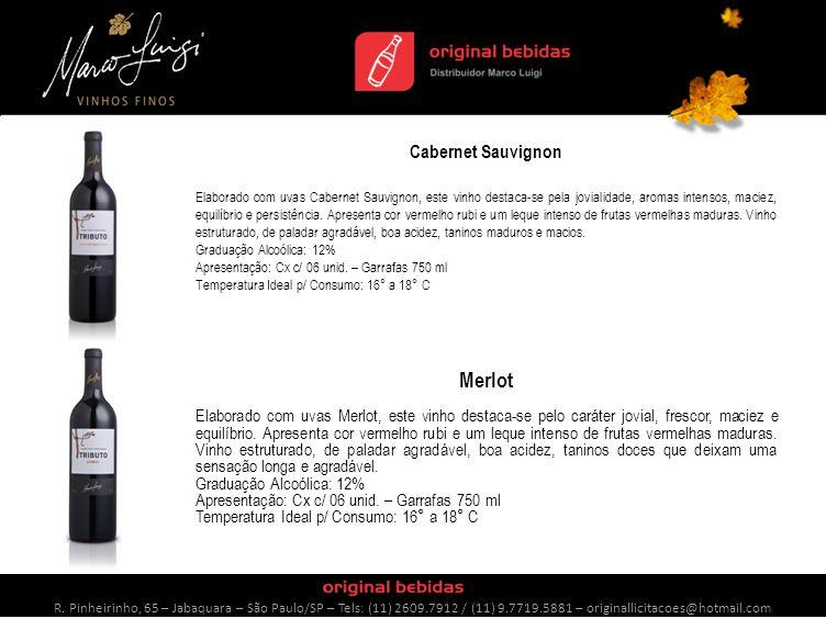 Cabernet Sauvignon Elaborado com uvas Cabernet Sauvignon, este vinho destaca-se pela jovialidade, aromas intensos, maciez, equilíbrio e persistência.