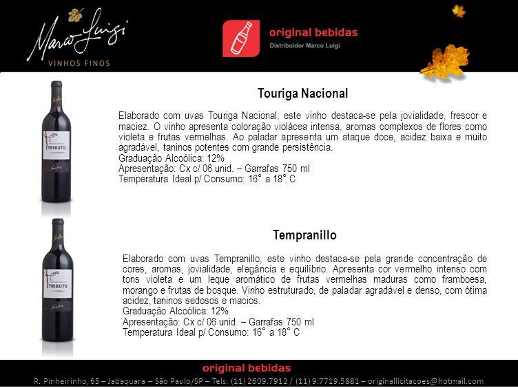 Touriga Nacional Elaborado com uvas Touriga Nacional, este vinho destaca-se pela jovialidade, frescor e maciez.