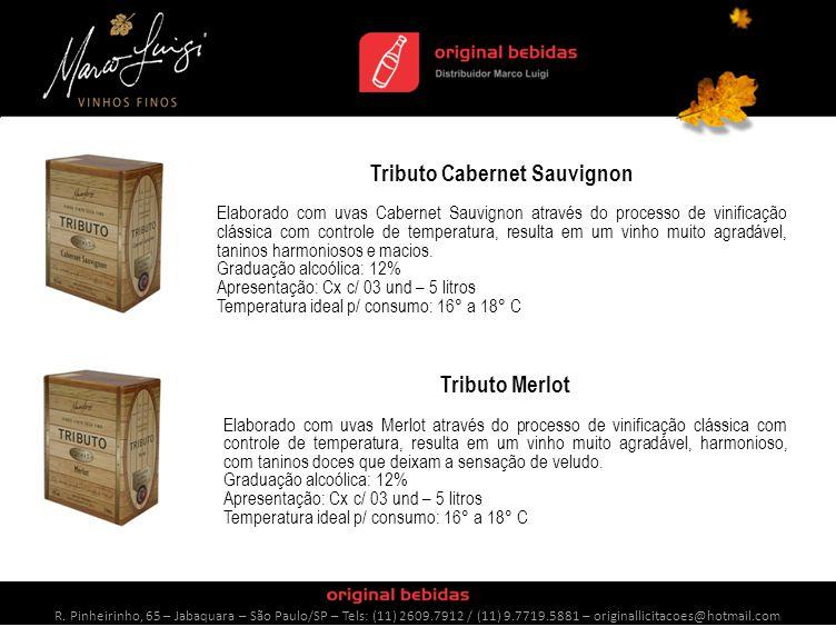 Tributo Cabernet Sauvignon Elaborado com uvas Cabernet Sauvignon através do processo de vinificação clássica com controle de temperatura, resulta em um vinho muito agradável, taninos harmoniosos e macios.