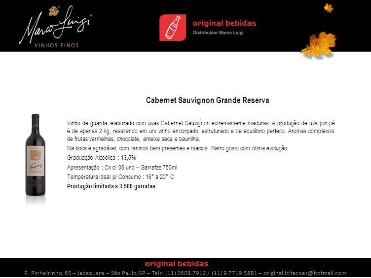 Cabernet Sauvignon Grande Reserva Vinho de guarda, elaborado com uvas Cabernet Sauvignon extremamente maduras.