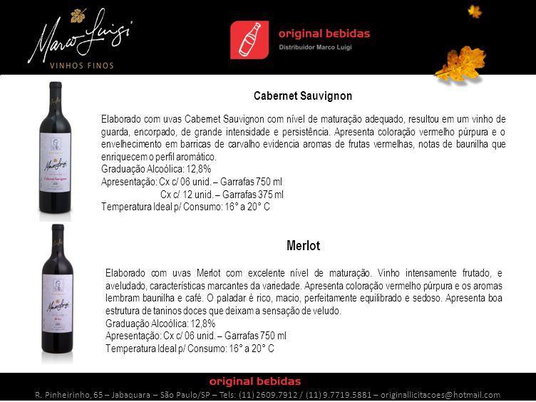 Cabernet Sauvignon Elaborado com uvas Cabernet Sauvignon com nível de maturação adequado, resultou em um vinho de guarda, encorpado, de grande intensidade e persistência.