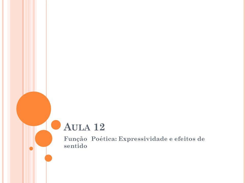 A ULA 12 Função Poética: Expressividade e efeitos de sentido