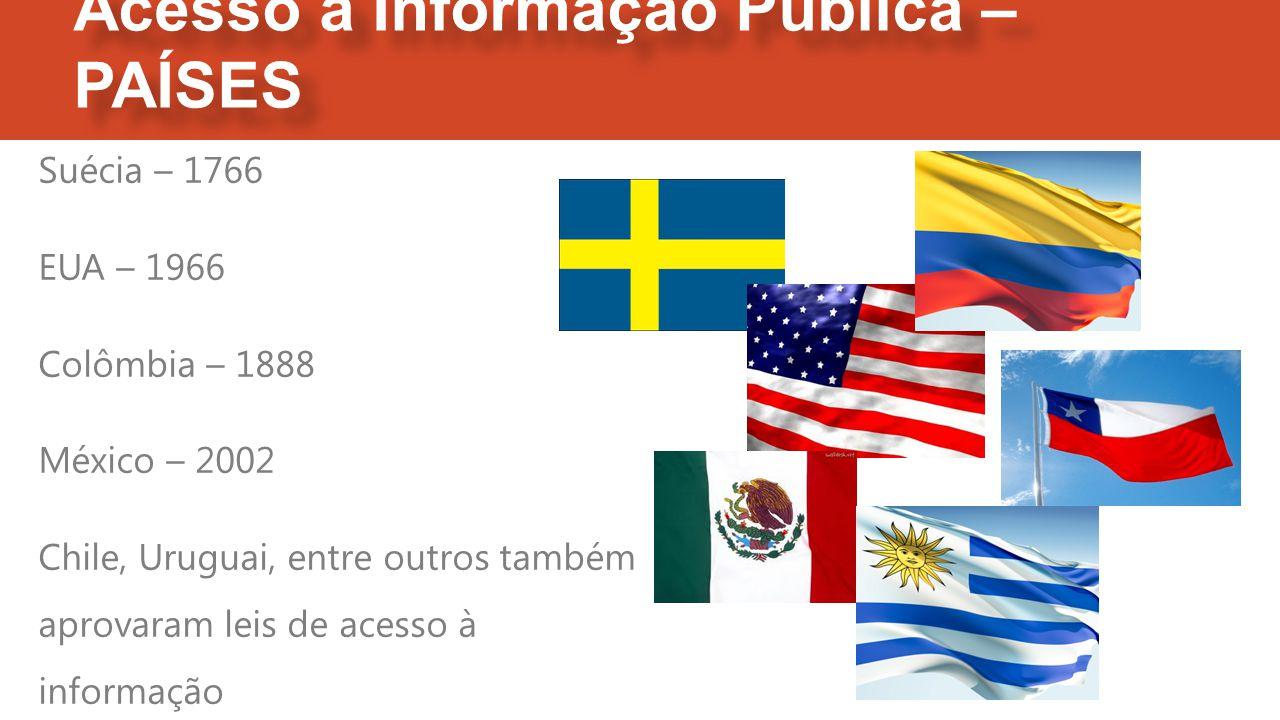 Acesso à Informação Pública – PAÍSES Suécia – 1766 EUA – 1966 Colômbia – 1888 México – 2002 Chile, Uruguai, entre outros também aprovaram leis de acesso à informação