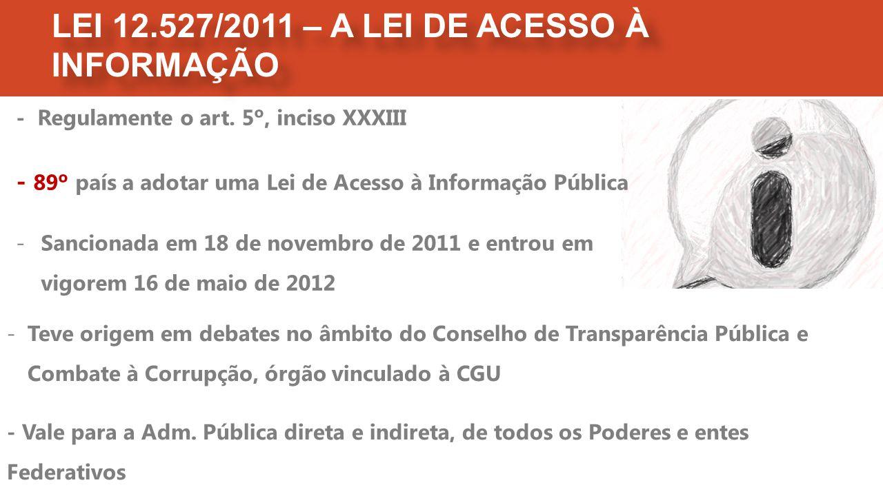 LEI 12.527/2011 – A LEI DE ACESSO À INFORMAÇÃO -Teve origem em debates no âmbito do Conselho de Transparência Pública e Combate à Corrupção, órgão vinculado à CGU - Vale para a Adm.