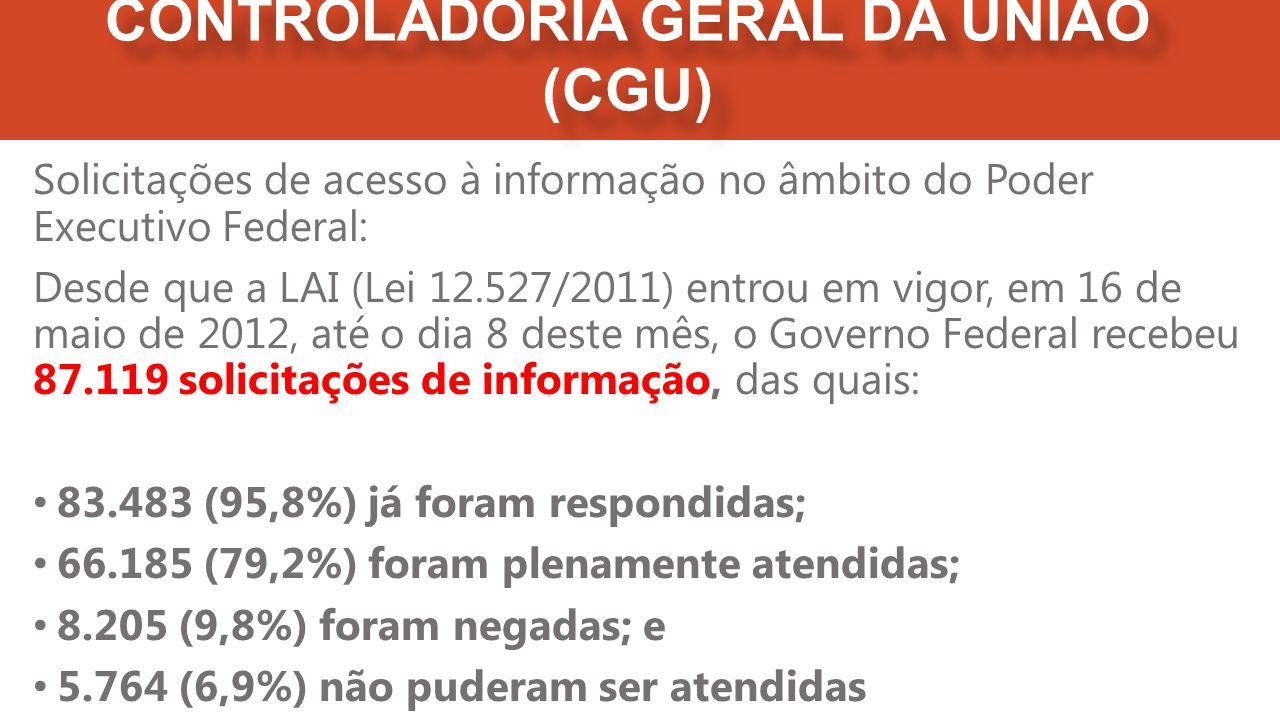 Solicitações de acesso à informação no âmbito do Poder Executivo Federal: Desde que a LAI (Lei 12.527/2011) entrou em vigor, em 16 de maio de 2012, até o dia 8 deste mês, o Governo Federal recebeu 87.119 solicitações de informação, das quais: 83.483 (95,8%) já foram respondidas; 66.185 (79,2%) foram plenamente atendidas; 8.205 (9,8%) foram negadas; e 5.764 (6,9%) não puderam ser atendidas CONTROLADORIA GERAL DA UNIÃO (CGU)