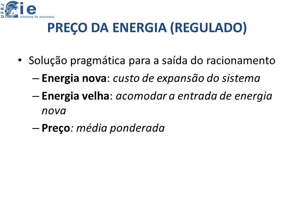 PREÇO DA ENERGIA (REGULADO) Solução pragmática para a saída do racionamento – Energia nova: custo de expansão do sistema – Energia velha: acomodar a entrada de energia nova – Preço: média ponderada
