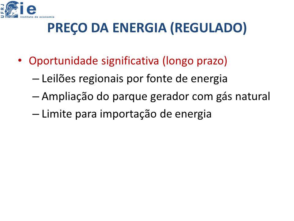 PREÇO DA ENERGIA (REGULADO) Oportunidade significativa (longo prazo) – Leilões regionais por fonte de energia – Ampliação do parque gerador com gás natural – Limite para importação de energia