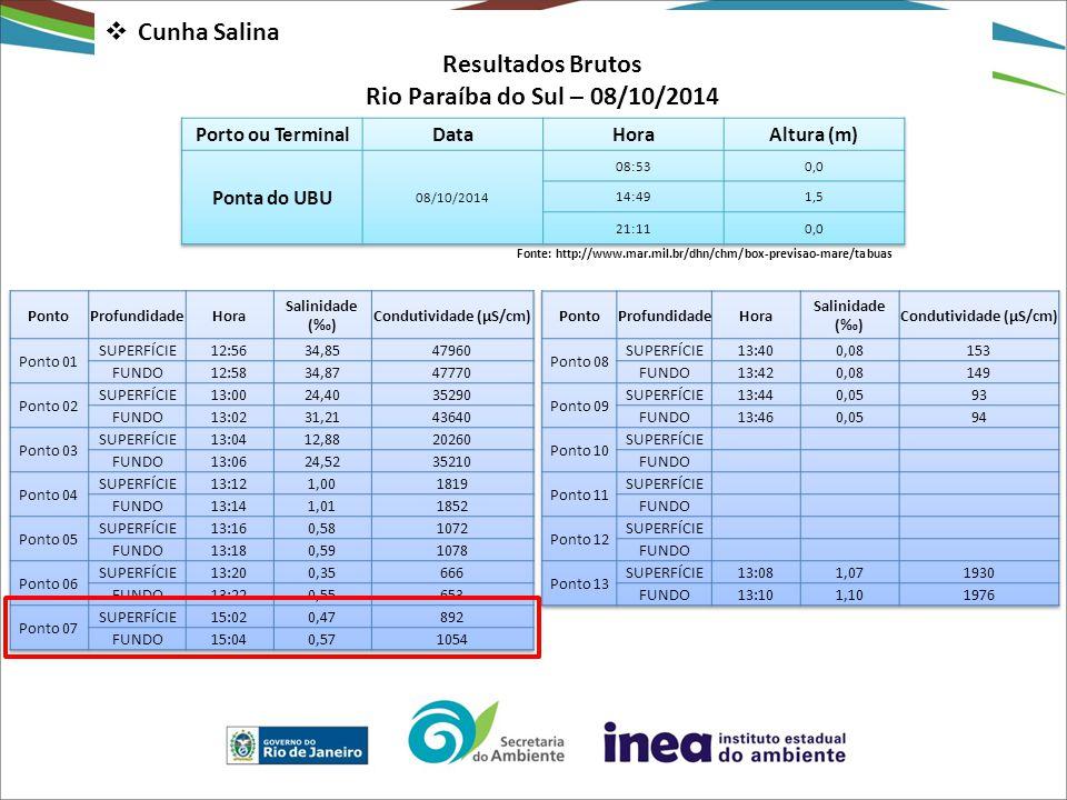  Cunha Salina Resultados Brutos Rio Paraíba do Sul – 08/10/2014 Fonte: http://www.mar.mil.br/dhn/chm/box-previsao-mare/tabuas