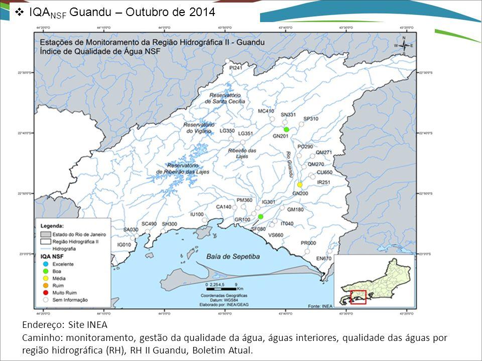  IQA NSF Guandu – Outubro de 2014 Endereço: Site INEA Caminho: monitoramento, gestão da qualidade da água, águas interiores, qualidade das águas por