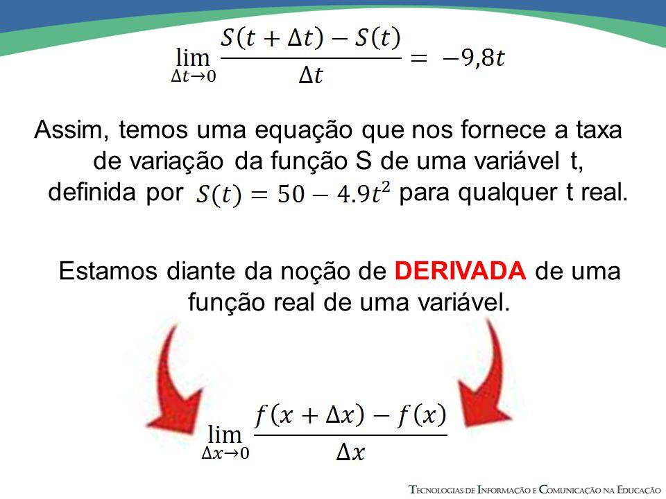 Assim, temos uma equação que nos fornece a taxa de variação da função S de uma variável t, definida por para qualquer t real. Estamos diante da noção
