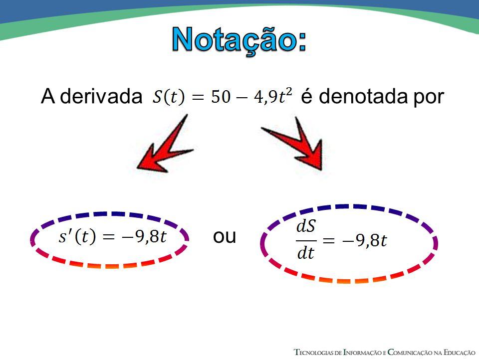A derivada é denotada por ou