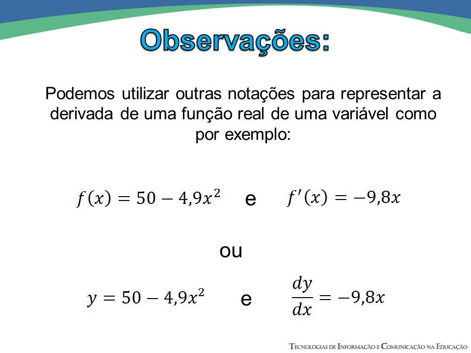 Podemos utilizar outras notações para representar a derivada de uma função real de uma variável como por exemplo: ou e e