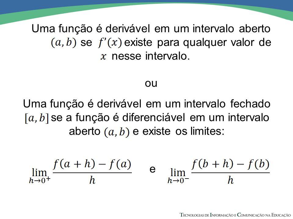 Uma função é derivável em um intervalo aberto se existe para qualquer valor de nesse intervalo. Uma função é derivável em um intervalo fechado se a fu
