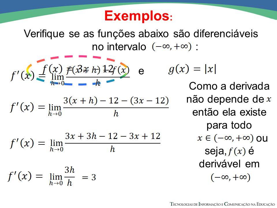 Exemplos : Verifique se as funções abaixo são diferenciáveis no intervalo : e Como a derivada não depende de x então ela existe para todo ou seja, é d